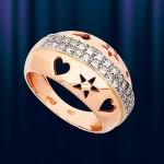Ring aus Russischem Rotgold 585 mit Zirkonen