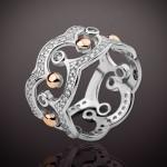 Кольцо Корона серебро+золото