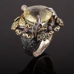 Кольцо серебряное. Цитрин & Изумруды