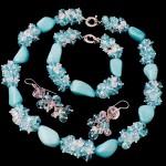 Гарнитур из бирюзы и кристалла