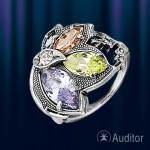 Кольцо из серебра 925 пробы с цирконами.