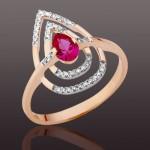 Рубины Корунд & Бриллианты. Золотое кольцо