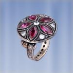 Кольцо с Рубином. Чернёное серебро
