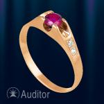 Кольцо из золота 585 с рубином Вишня