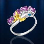 Серебряное кольцо с Аметистами. Топаз & Фианиты