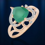 Золотое кольцо с ониксом зеленым