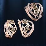 Золотой гарнитур с хризолитом. Кольцо & Серьги