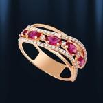 Кольцо с корундом рубином. Русское золото