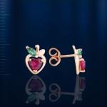 Серьги - пусеты золотые Ягодка. Рубин & Изумруд