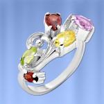 Кольцо Трепет с самоцветами. Серебро
