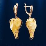 Золотые серьги - подвески с янтарём