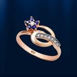 Кольцо золотое. Сапфиры & бриллианты
