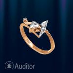 """Кольцо золотое с фианитами """"Призма"""""""