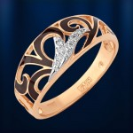 Кольцо золотое. Фианиты & Эмаль