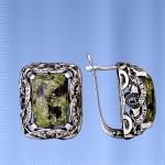 Серьги серебряные. Змеевик