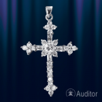 Крестик нательный серебро с цирконами