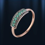 Золотое кольцо. Зелёный бриллиант & изумруд.