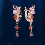 Золотые серьги - подвески. Аметист & Гранат