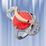 """Серебряное кольцо """"Эдельвейс"""" с кораллом. Золото, серебро"""