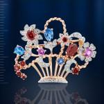 Брошь Корзина цветов. Русское золотое & Самоцветы