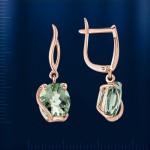 Золотые серьги - подвески. Зеленый аметист & Фианиты