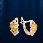 Золотые серьги с цитрином. Русское золото