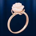 Золотое кольцо с корaллом
