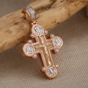 Крест нательный золотой. Фианиты