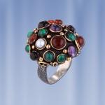 Кольцо с самоцветами. Чернёное серебро