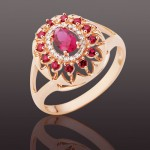 Рубин Корунд & Бриллианты. Золотое кольцо