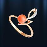 Золотое кольцо с кораллом. Русское золото