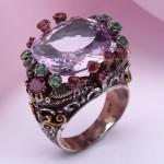 Кольцо серебряное. Аметист & Изумруд