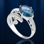 Серебряное кольцо. Нанотопаз лондон и Фианиты
