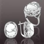Кольцо & Серьги с белым агатом. Серебро