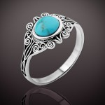 Кольцо серебряное Эльза. Бирюза