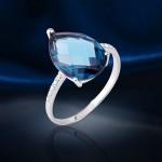 Серебряное кольцо. Топаз Лондон