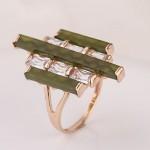 Золотое кольцо. Нефрит & Фианиты