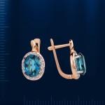 Серьги с бриллиантами и топазом
