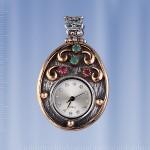 Серебряный кулон - часы. Изумруды & Рубины