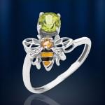Кольцо Пчелка серебряное с самоцветами