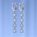 Серебряные серьги - подвески с топазом