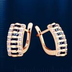 Золотые серьги с бриллиантами, сапфирами