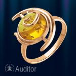 Кольцо из золота 585° с янтарем.
