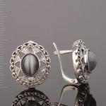 Серьги с улекситом серебряные