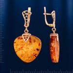 Серьги - подвески золотые с янтарём