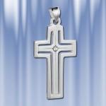 Крест серебряный с цирконом