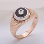 Перстень золотой. Эмаль & Фианит