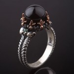 Кольцо c агатом. Чернёное серебро