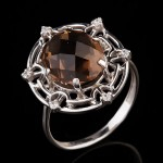 Серебряное кольцо. Раухтопаз & Фианит
