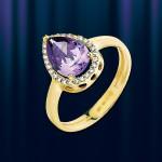 Кольцо золотое с аметистом.